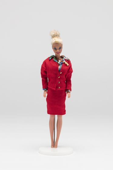 2010/70/1-18 Doll (1 of 42), Barbie wearing Qantas uniform from 1974-1987, plastic / textile, doll made by Mattel Inc, United States of America, 1976, costume made by John Willmott-Potts, Australia, 1988-2010
