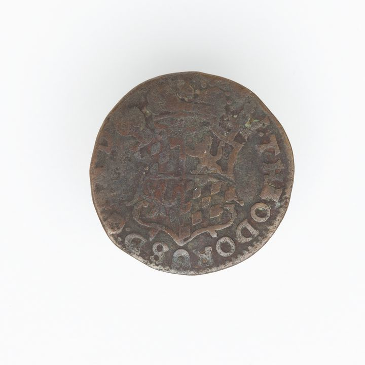 N21359-4 Coin, Netherlands, Dutch East India Co, Liard, copper alloy, Liege Mint, 1745.. Click to enlarge.