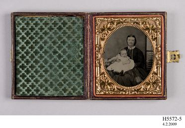 H5572-5 Ambrotype (1 of 4), mounted in case, studio portrait of Charlotte Walker with her son, collodion / paint / glass / wood / paper / brass / velvet / leather, maker unknown, place of production unknown, 1855-1870
