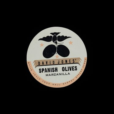 90/58-1/17/1/4/1 Food packaging, Spanish olives marzanilla, paper, designed by Douglas Annand for David Jones, Sydney, New South Wales, Australia, c. 1936