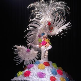 96/305/2 Costume, Gay and Lesbian Mardi Gras, 'Cotton Blossom', mixed media, designed, made and worn by Ron Muncaster, Sydney, New South Wales, Australia, 1994