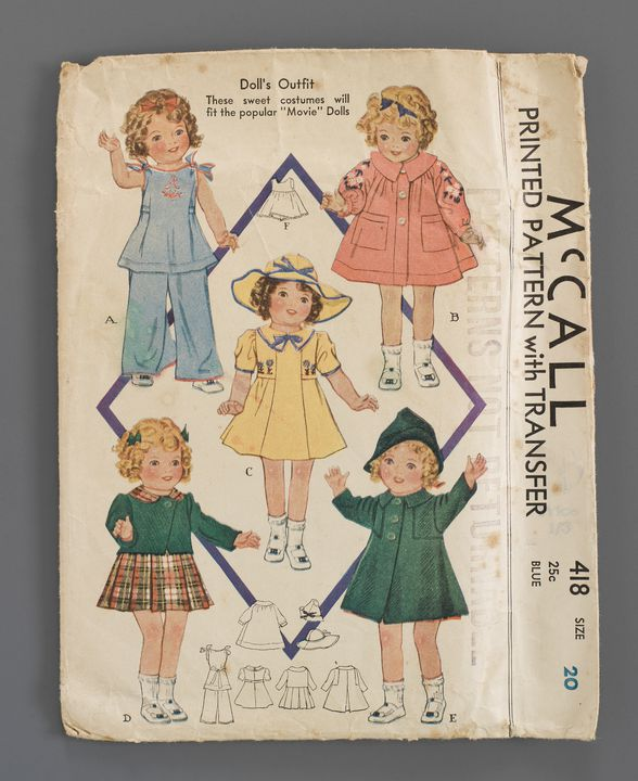 2012/5/3 Collection of sewing patterns (41), doll's clothes, McCall Printed Pattern No. 418, for 'Movie Dolls', for a 20-inch doll, made by The McCall Co, United States of America, 1936, used by Daphne Kingston (nee Watt) Mackay, Queensland, Australia, 1936-1940. Click to enlarge.