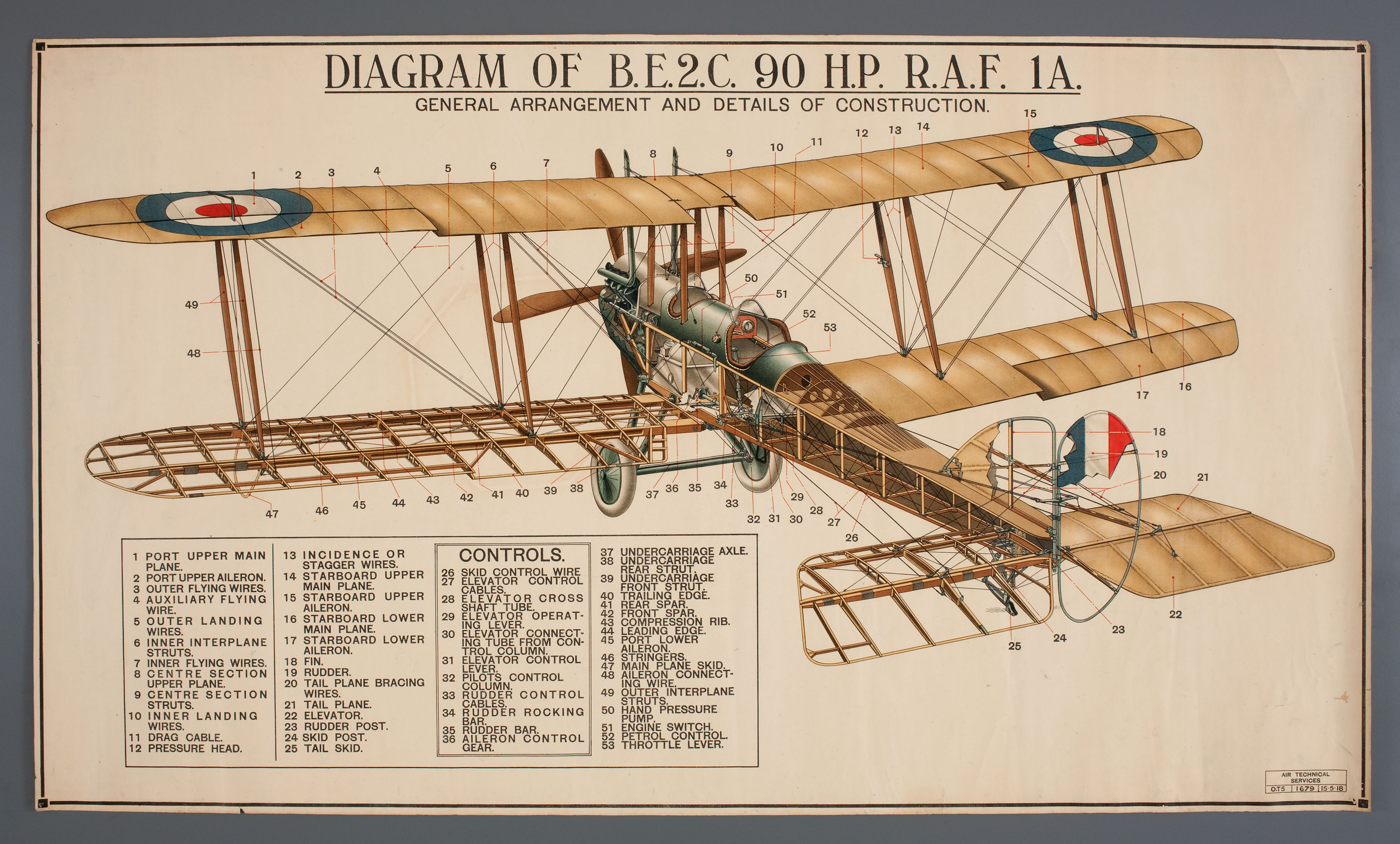 Diagram Be2c Aircraft Showing Construction Paper Royal Air Force Airplane Diagrams England 1918 Maas Collection