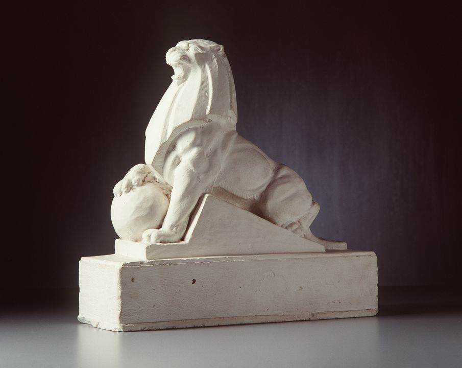 87/1 Maquette, plaster, Holden lion, made by Rayner Hoff, South Australia, c. 1927. Click to enlarge.