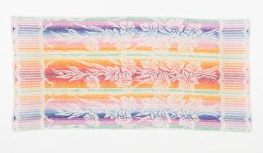 2002/88/9 Towel, terry towelling, multi-coloured, with a design featuring bands of gladioli motifs, created for Dri-Glo Towels Pty Ltd by Shirley de Vocht, Shirley de Vocht, Sydney, New South Wales, Australia, 1951-1959