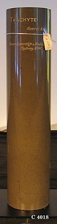 C4018 Column, stone specimen, polished Trachyte, quarried at Bowral, New South Wales, Australia, 1906. Click to enlarge.