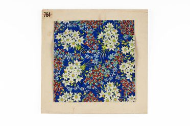 2002/88/1-5/6 Textile design, featuring flannel and pea flower design, numbered 764, gouache on paper, designed by Shirley de Vocht (nee Martin), Sydney, New South Wales, Australia, c. 1945-1954