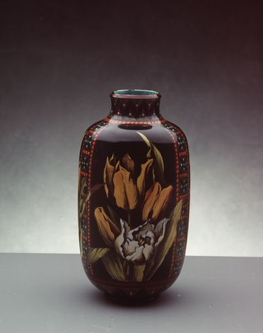 2808 [WEB APPROVED] Vase, earthenware, Doulton & Co (Pinder Bourne & Co), hand-painted by Mary Butterton, Lambeth, London, England, c. 1880