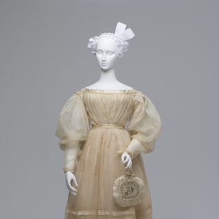 2005/210/1 Wedding dress, womens, silk / cotton / metal, maker unknown, possibly made Australia / Engalnd, worn by Agnes Thompson at her wedding to Dr George Bushby, Saltram, New South Wales, Australia, 11th of January 1833