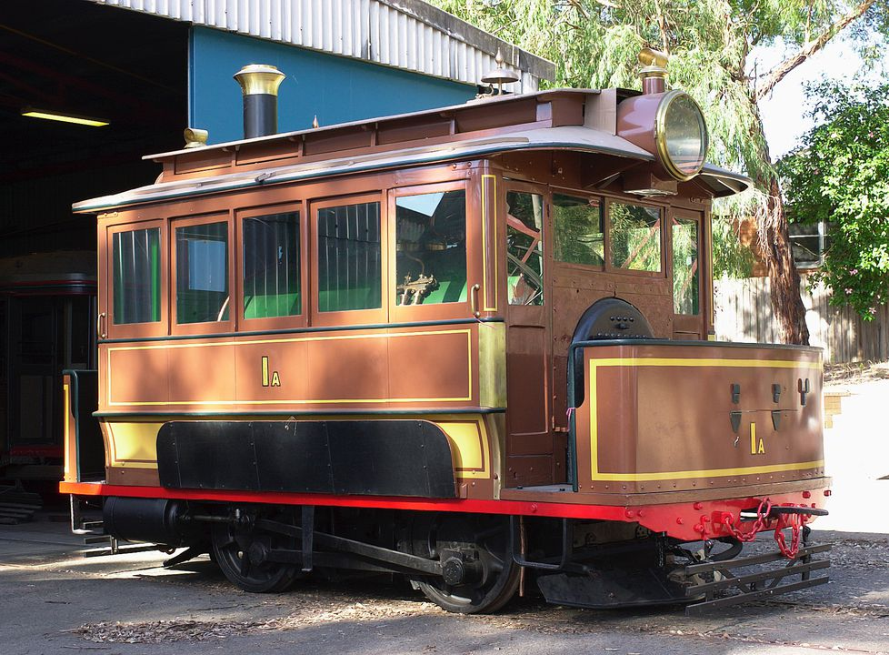 B823 Steam tram, full size, tram motor No. 1A, metal / timber, made by Burnham, Parry and Williams & Co, Baldwin Locomotive Works, Philadelphia, USA, 1879. Click to enlarge.