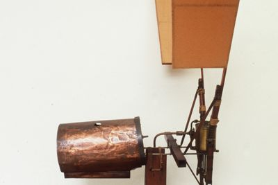 B1422 Model, single cylinder aircraft engine, No.2, metal / wood / paper, made by Lawrence Hargrave, Rushcutters Bay, New South Wales, Australia, 1888