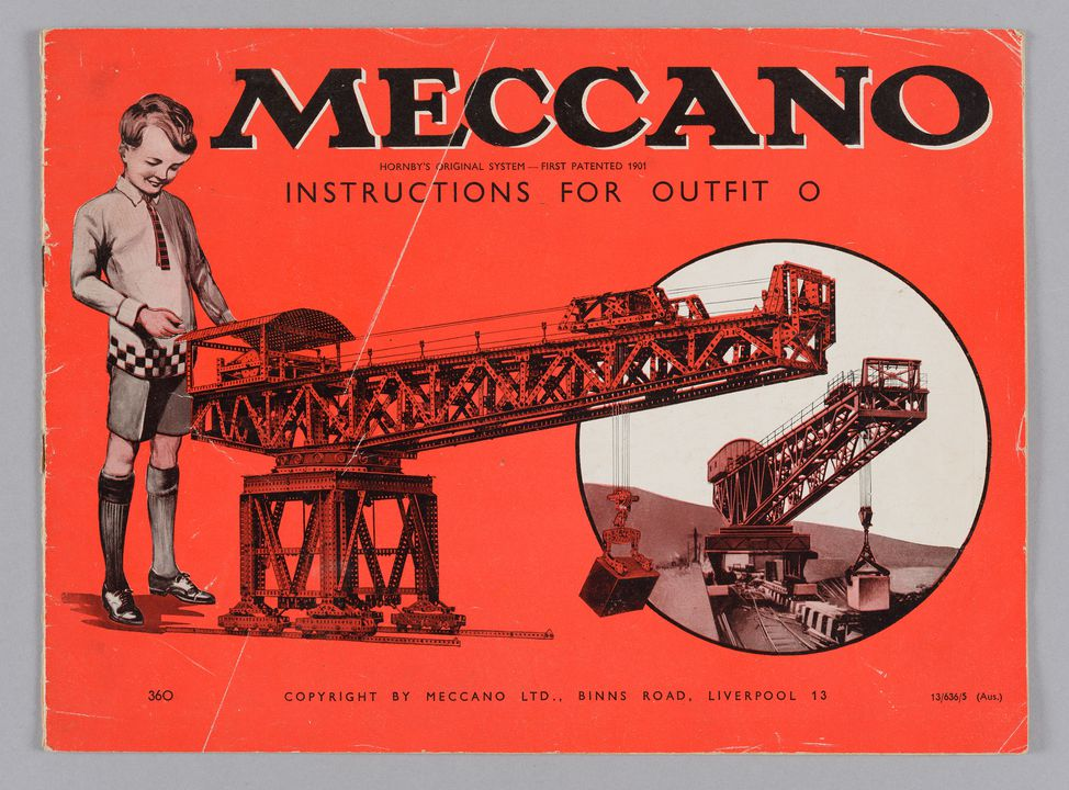 2013/120/26 Instruction book, 'Meccano Hornby's Original System First Patented 1901 Instructions for Outfit O', paper, made by Meccano Ltd, Liverpool, England, 1936. Click to enlarge.