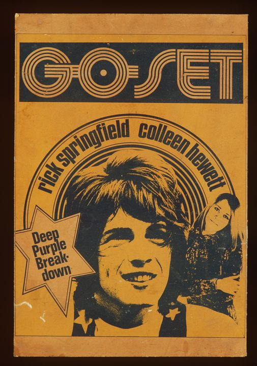 99/113/1 Poster, 'Go-Set' magazine, Rick Springfield / Colleen Hewett, mounted on board, paper / wood, maker unknown, Australia, 1972-1973. Click to enlarge.