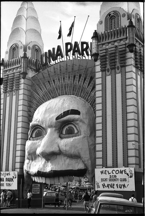 96/44/1-5/4/123/1 Negative, black and white, Luna Park entrance, for the book 'Sydney, A Book of Photographs', 35mm acetate film, David Mist, Sydney, New South Wales, Australia, 1969. Click to enlarge.