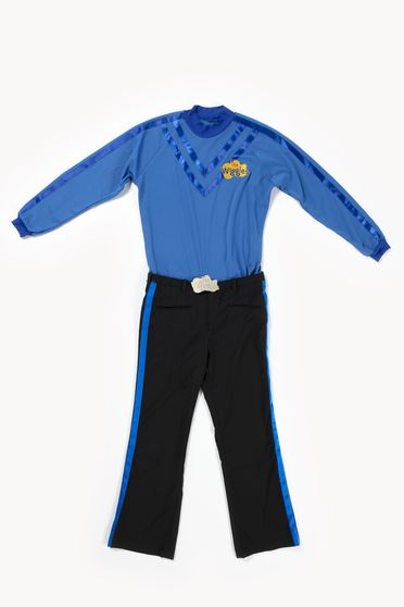 2020/123/8 Costume, 'Blue Wiggle', textile / metal / plastic, worn by Anthony Field, skivvy designed by Maria Petrozzi, pants made by Casa Adamo, Sydney, New South Wales, Australia, for The Wiggles International Pty Limited, Sydney, New South Wales, Australia, 2012-2020