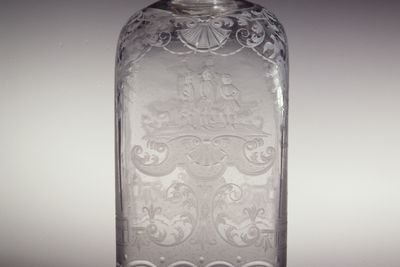 97/313/1 Flask, wheel-engraved glass / pewter, engraving attributed to Anton Wilhelm Mauerl's workshop, Nuremberg, Germany, 1735-1745, pewter screw-on top made by H G Mayr, Deggendorf, Bavaria.