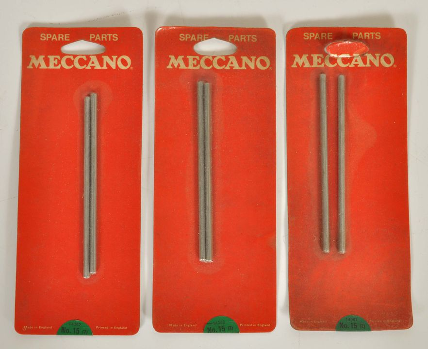 2013/120/17 Construction toy spare parts (3 packets), No.15/14062, made by Meccano Ltd, Liverpool, England, 1980-2000. Click to enlarge.