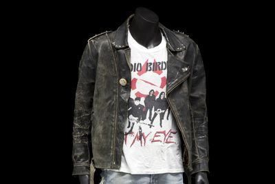 2011/20/1 Outfit, Headbangers, leather jacket, t-shirt, jeans, leather / metal / cotton / polyester, various makers, worn and customised by Wayne Campbell, Australia, 1986-2009