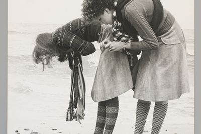 2009/43/1-2/27 Photographic print, fashion, black and white, mounted on card, Red Robin socks, models Lori Craig (on left) and Michelle (right) on the beach, photograph by Bruno Benini, Melbourne, Victoria, Australia, 1975