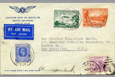 85/112-6 Philatelic cover, Australia to USA via 'Lady Southern Cross', signed, paper, envelope made for Kingsford Smith Air Service Ltd., Mascot, New South Wales, Australia, 1934