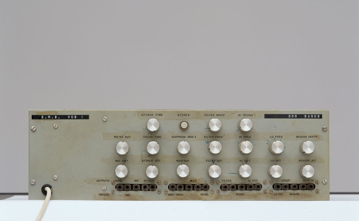 H9953-13 Electronic Music Synthesiser, from Don Banks music studio, metal / electronic components, made by Electronic Music Studios (EMS), Cornwall, England, ND. Click to enlarge.