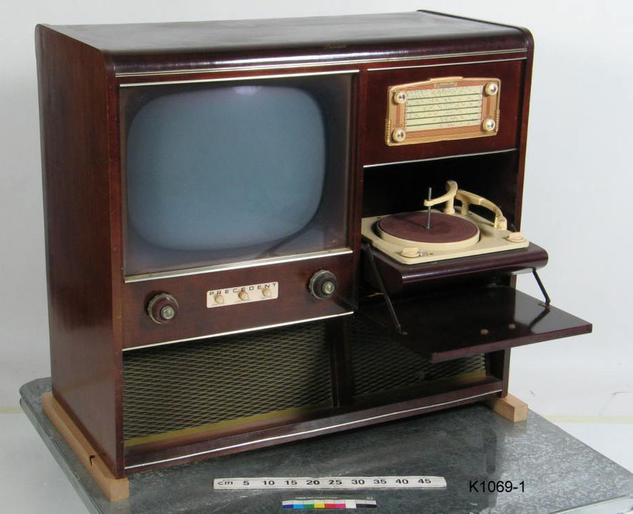 K1069 Combination television radiogram, 'Precedent' brand, 21' television, AM radio and mono record player, all contained in polished veneer cabinet, television and radio: [Precedent], record player: Collard Ltd, Barking, Essex, [Australia] and England, c.1960 (OF).. Click to enlarge.