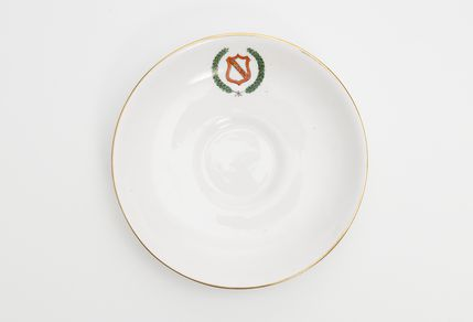 85/2473-12 Saucer, part of set, bone china, made for Girls Secondary Schools Sport Association, Australia, by Tuscan China, England, 1926-1965