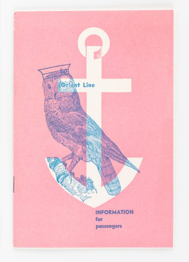 90/58-1/7/7/1 Booklet, 'Orient Line Pacific Service Information for Passengers', paper, designed by Douglas Annand for Orient Steam Navigation Company Limited (Orient Line), Sydney, New South Wales, Australia, November 1956