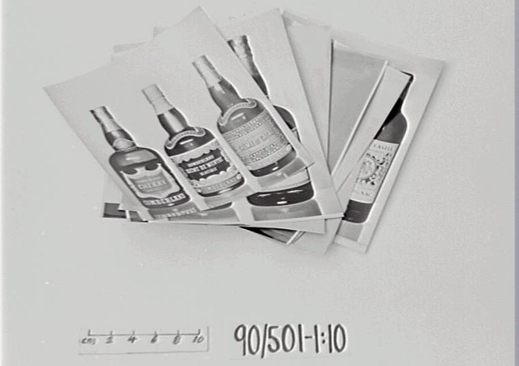90/501 Photographs (10), black and white, wine and spirit bottles, Max Dupain (photographer), Alistair Morrison (Designer), Sydney, 1958-1963. Photographs (4), black and white, exhibition design, Alistair Morrison (designer), Sydney, 1950.. Click to enlarge.