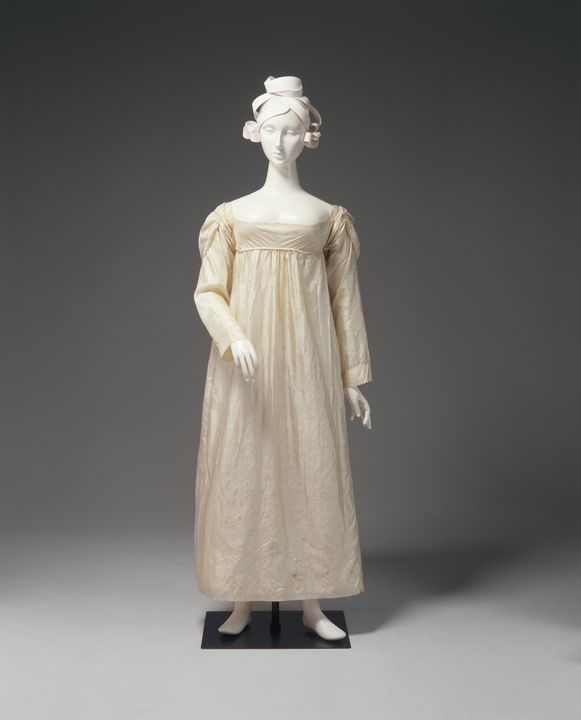 A7881 Wedding dress, silk, maker unknown, worn by Ann Marsden on her marriage to Thomas Hassall, St John's Church Parramatta, Sydney, New South Wales, Australia, 12 August 1822. Click to enlarge.