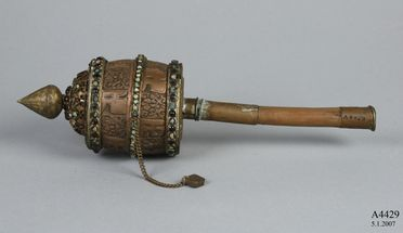 A4429 Tibetan prayer wheel, wood / copper / brass, maker unknown, Tibet, date unknown