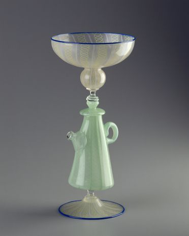 94/104/3 Goblet, teapot-shaped stem, blown glass, made by Richard Marquis and Dante Marioni, Canberra, Austalian Capital Territory, Australia, 1994
