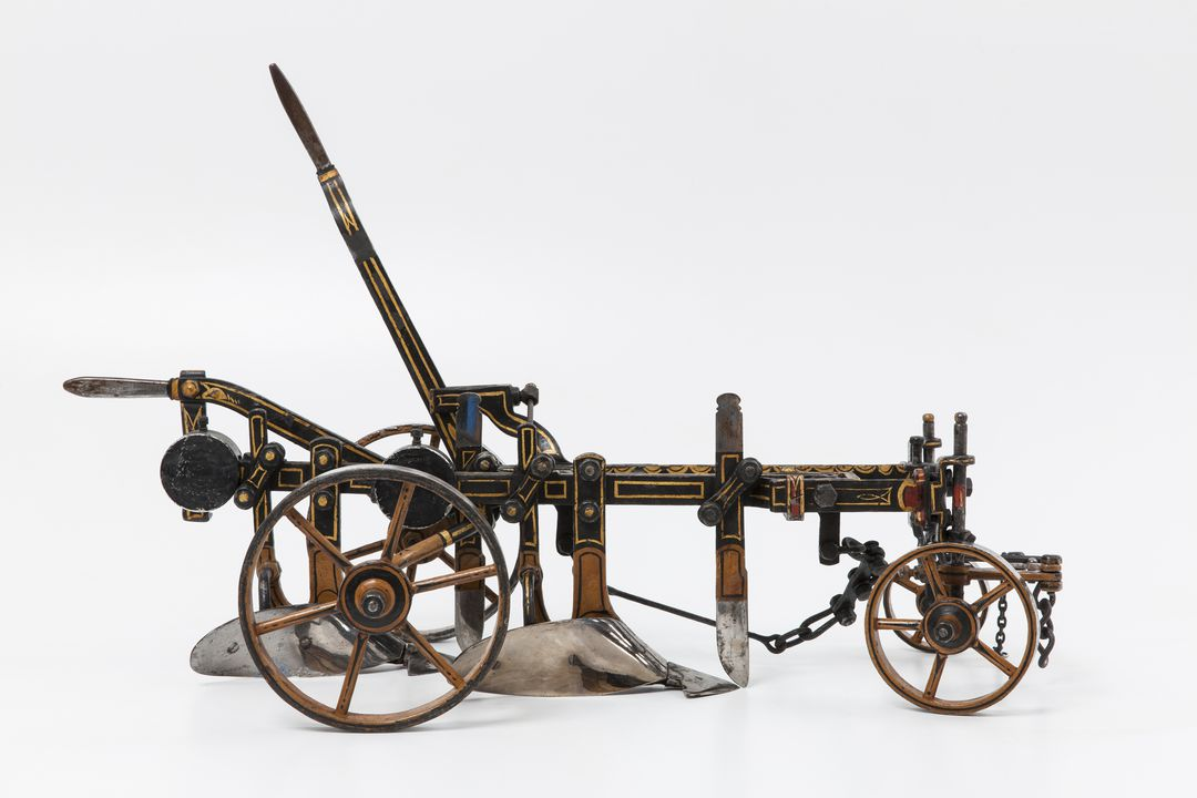 B526 Farm implement model, double-furrow stump-jump plough, metal, made by Albert Arnold, Sydney, New South Wales, Australia, 1882-1883. Click to enlarge.