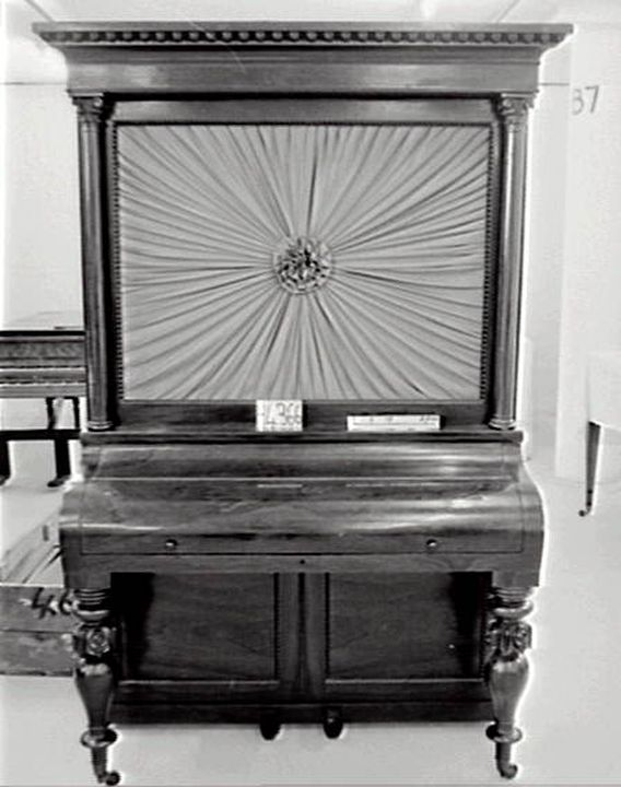 H4366 Upright cabinet piano, timber. metal & ivory, made by George & Manby, 85 Fleet Street, London, c.1840. Click to enlarge.