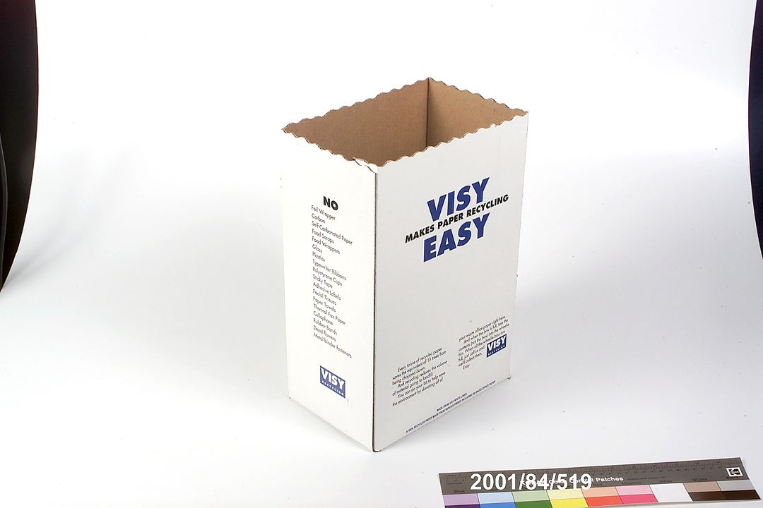 2001/84/519 Box, paper recycling, recycled paper, Green Games, Sydney 2000 Olympic and Paralympic Games, made by Visy c.2000. Click to enlarge.