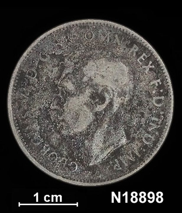 N18898 Coin counterfeit, Australia, George VI. Florin (2s), 1947. (CI).. Click to enlarge.
