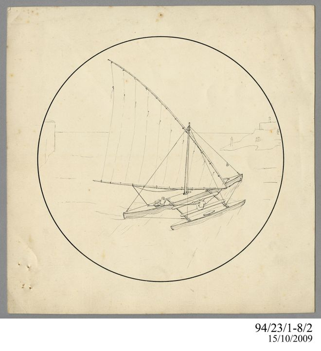94/23/1-8/2 Drawing, pen, 'The Shark', Lawrence Hargrave, 1897?. Click to enlarge.