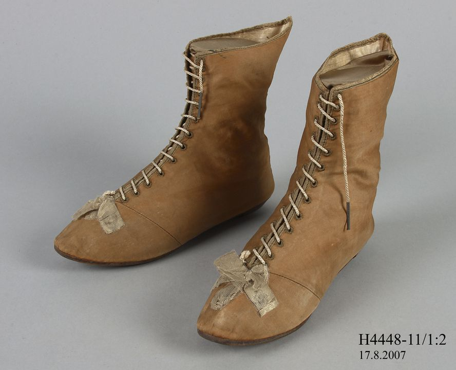 H4448-11 Ankle boots (pair), part of Joseph Box collection, womens, silk / cotton / leather / metal, maker unknown, England, c. 1804. Click to enlarge.
