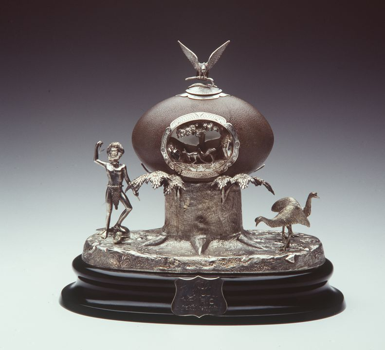 85/412 Presentation inkstand, emu egg and silver, made by J M Wendt, Adelaide, South Australia, c. 1880. Click to enlarge.