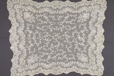 2007/166/1 Wedding veil, tamboured machine made net, cotton, maker unknown, probably Ireland, c. 1865