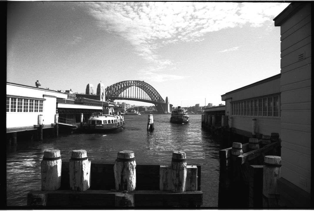 96/44/1-5/4/39/3 Negative, black and white, Circular Quay, for the book 'Sydney, A Book of Photographs', 35mm acetate film, David Mist, Sydney, New South Wales, Australia, 1969. Click to enlarge.