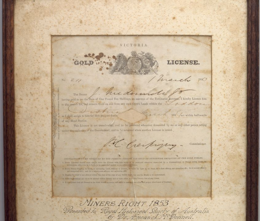2000/128/1 Licence for gold mining, framed, paper / wood / glass, issued to J McDonnell, printed by John Ferres, Government Printing Office, Victoria, Australia, 1853. Click to enlarge.