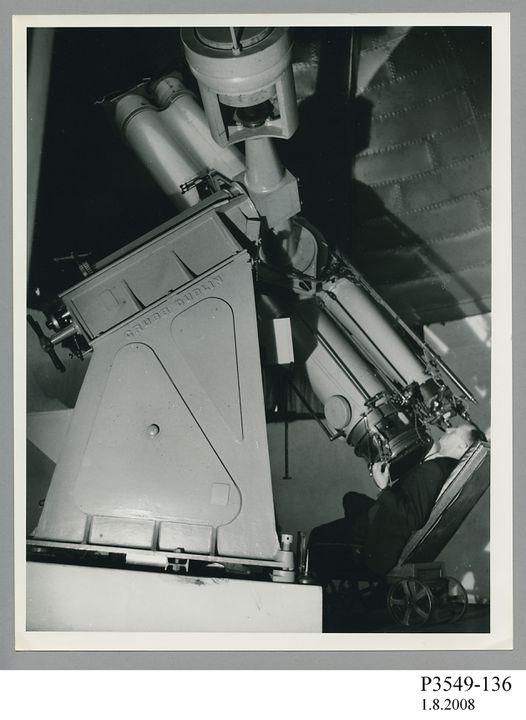 P3549-136 Photograph, silver gelatin print, Harley Wood at Astrographic Telescope, paper , possibly photographed by Sydney Morning Herald photographer, July 1974, used by Sydney Observatory, Sydney, New South Wales, Australia, 1974-1979. Click to enlarge.