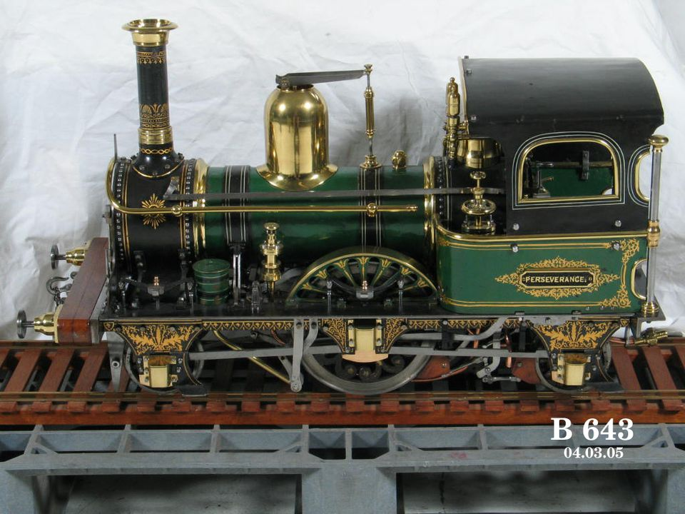 B643 Steam locomotive model, 'Perseverance' type 2-2-2, metal / brass / wood, England, [1850-1935], part of A.A. Stewart Collection of model engineering. Click to enlarge.