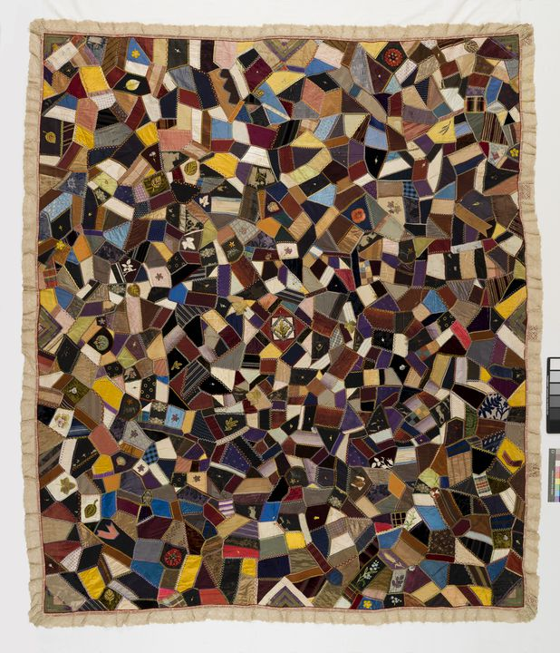 90/731 Quilt, 'Friendship', embroidered crazy patchwork, cotton / silk / felt, Marion Gibson, Australia, 1892. Click to enlarge.