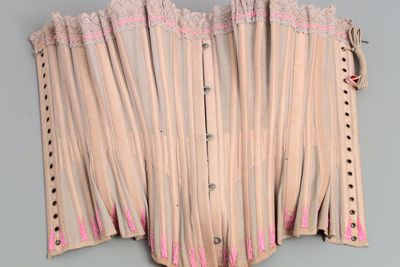 97/92/8-9 Corset, 'Daydream Corset', textile / metal, part of shop stock, haberdashery, Wong family, Australia, c.1890-1920.