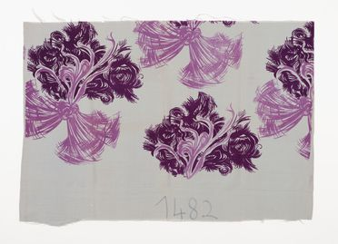 2002/88/4 Textile length, 'Abstract bow and flowers', purple palette, screen-printed cotton, designed by Shirley de Vocht (nee Martin) for Silk and Textile Printers Pty Ltd of Darlinghurst, Sydney, New South Wales, Australia, 1944-1946