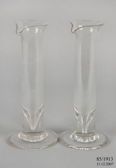 85/1913 Rain gauges (2), measuring cylinders, glass, made by Angelo Tornaghi, used at Sydney Observatory, New South Wales, Australia, 1861-1900