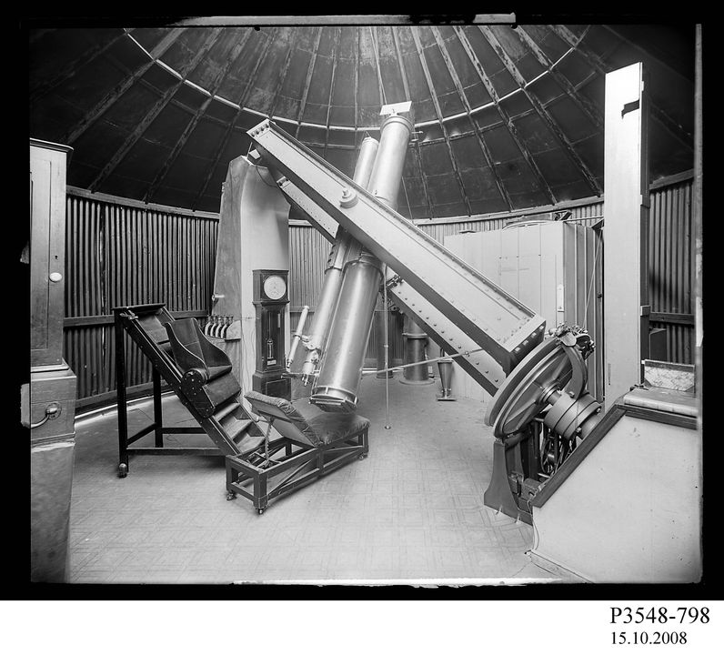 P3548-798 Photographic glass plate negative, interior observation building, photographer unknown, Sydney Observatory, Sydney, New South Wales, Australia, 1862-1930. Click to enlarge.