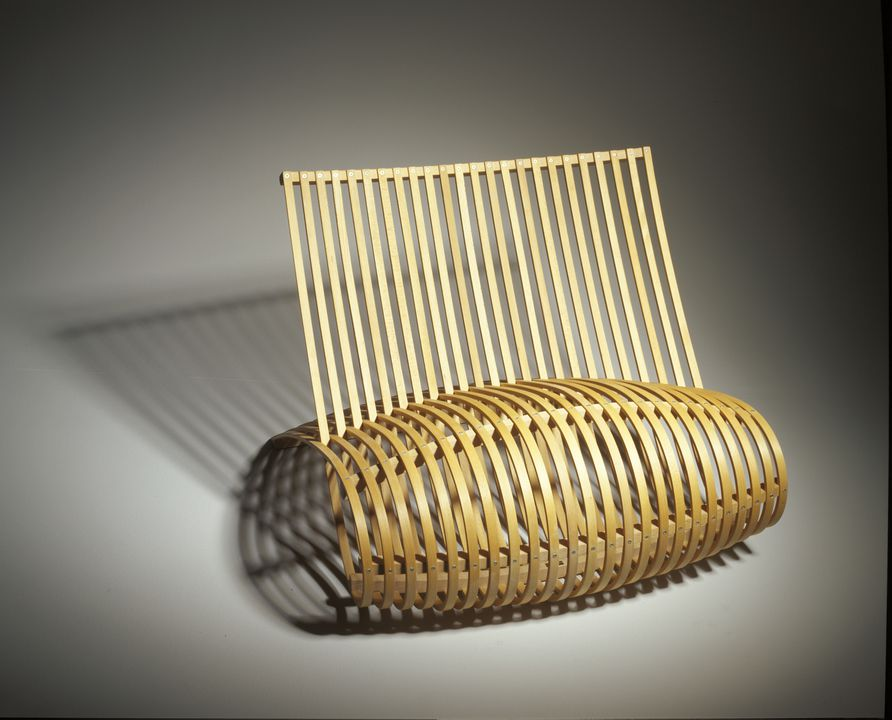 2001/114/1 Chair, 'Wood', beech, designed by Marc Newson, Australia 1988, made by Cappellini, Italy, about 2000. Click to enlarge.